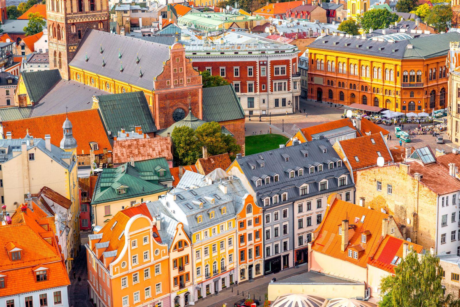 Riga Lettland Stadt Haeuser Aussicht