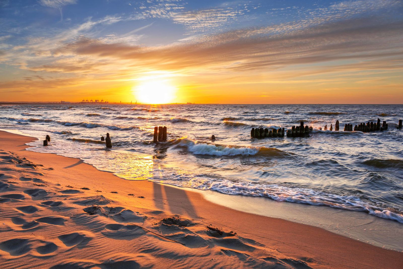 Polnische Ostsee Sonnenuntergang Meer Strand