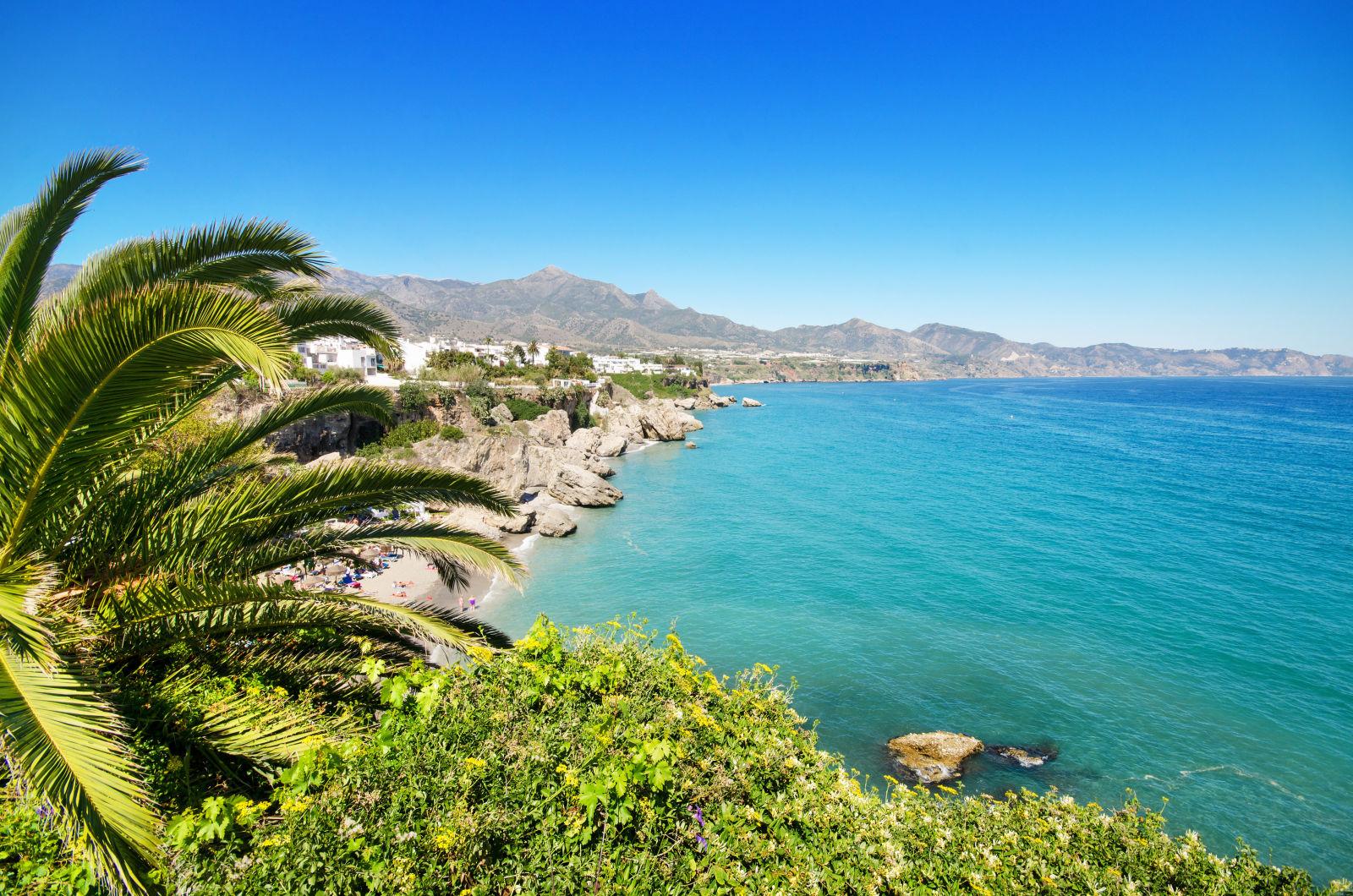 Costa Del Sol mit Palme und Strand in Spanien