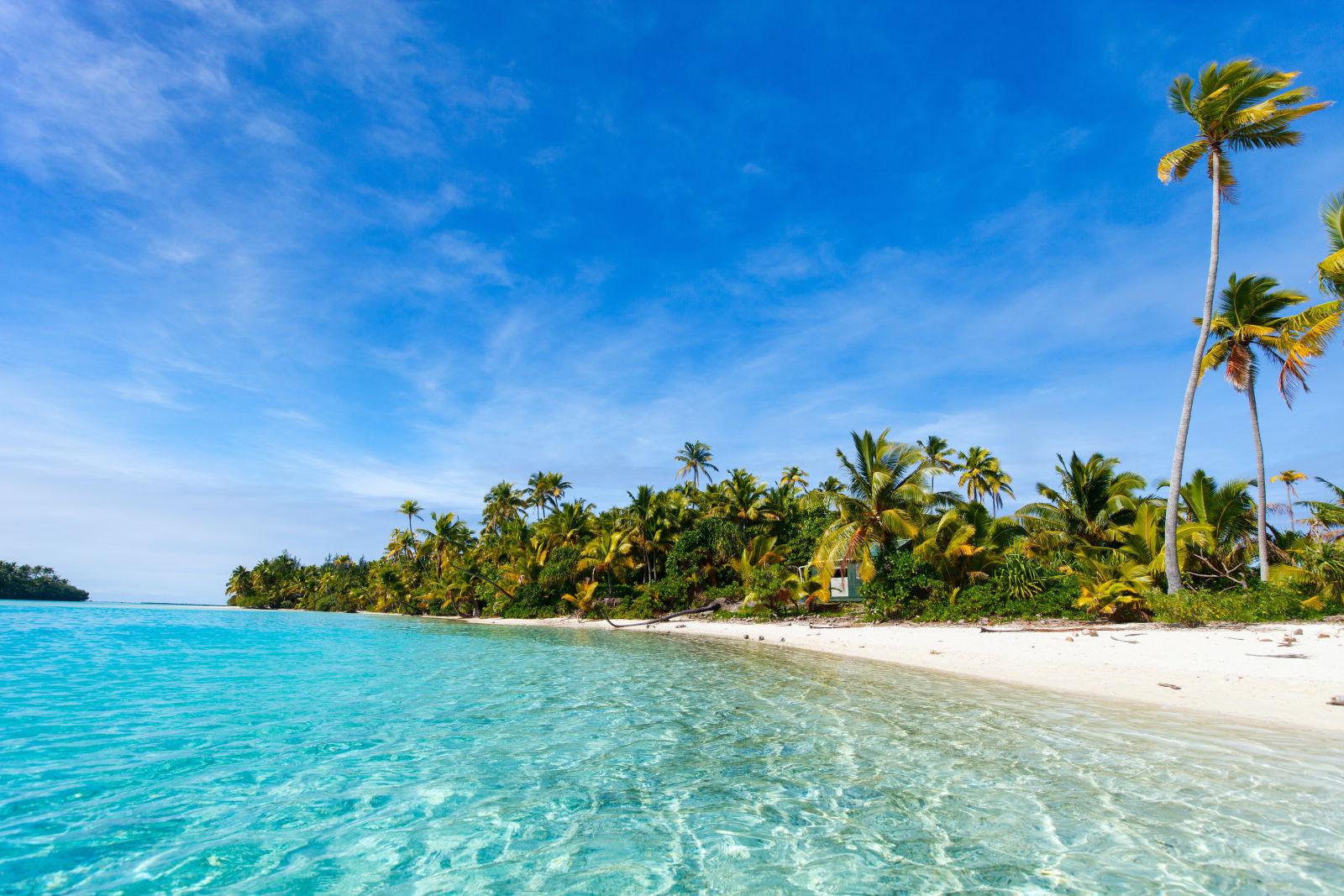 Aitutaki One Foot island Cook Island Südsee Strand Palmen Meer
