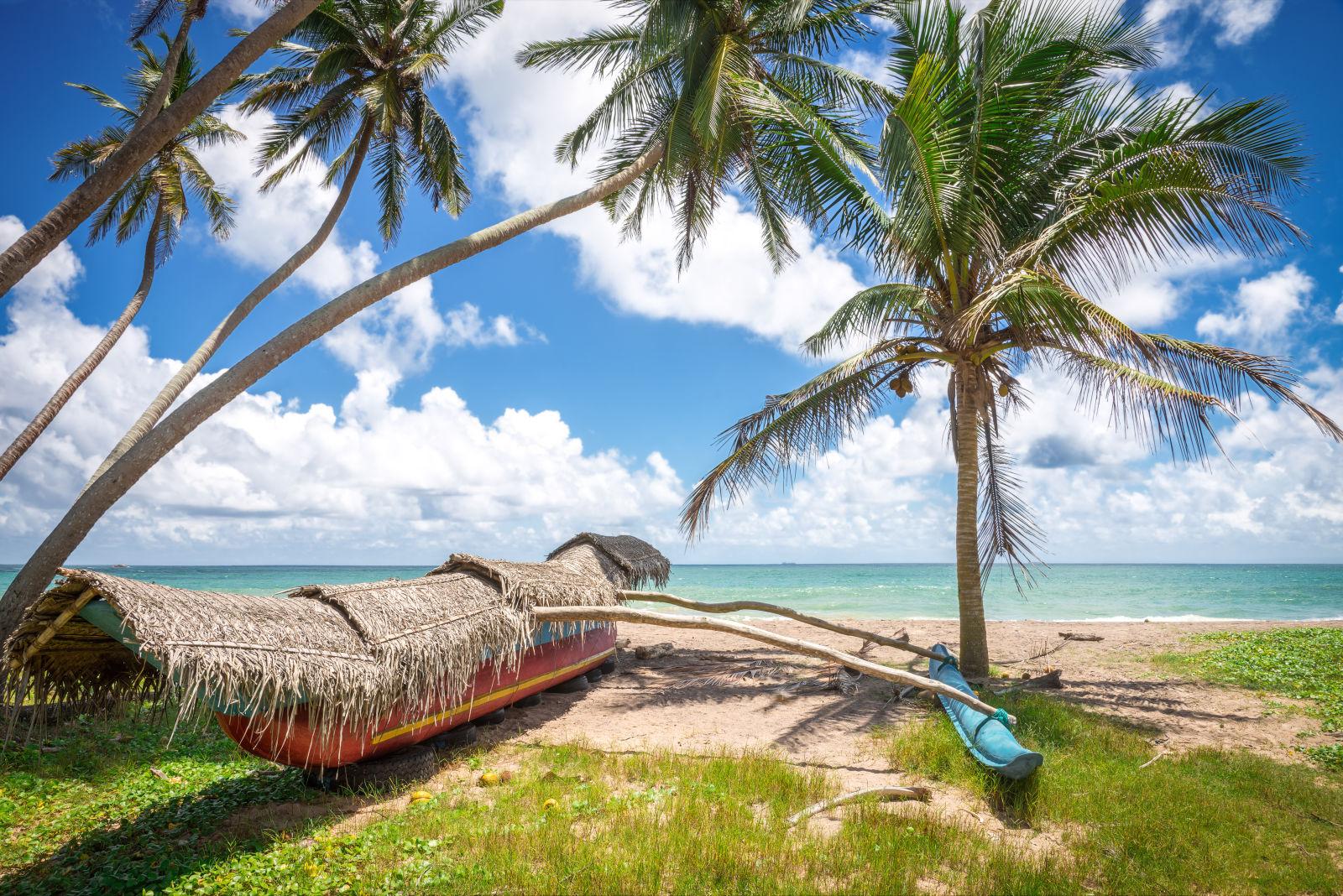 Boote an einem wilden Strand in Sri Lanka