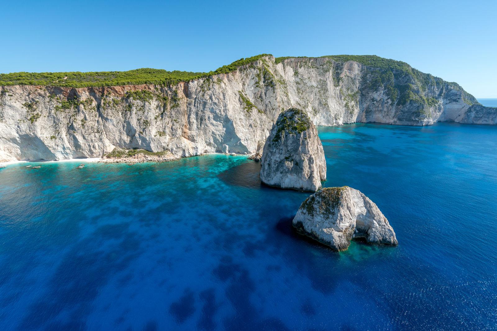 Felsen und Strand in Keri, Zakynthos, Griechenland