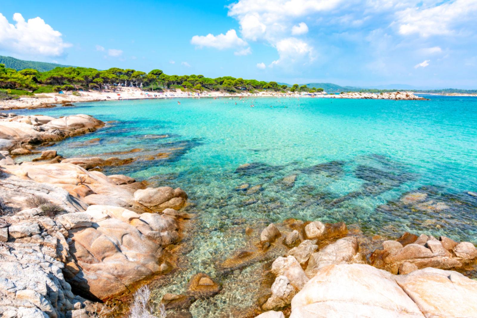 Karibikstrand auf der Sithonia Peninsula in Chalkidiki, Griechenland