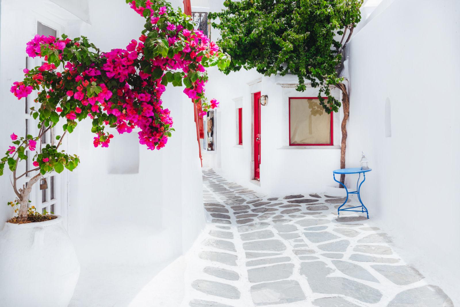 Kleine Gasse auf Mykonos mit weißen Häusern und pinken Blumen