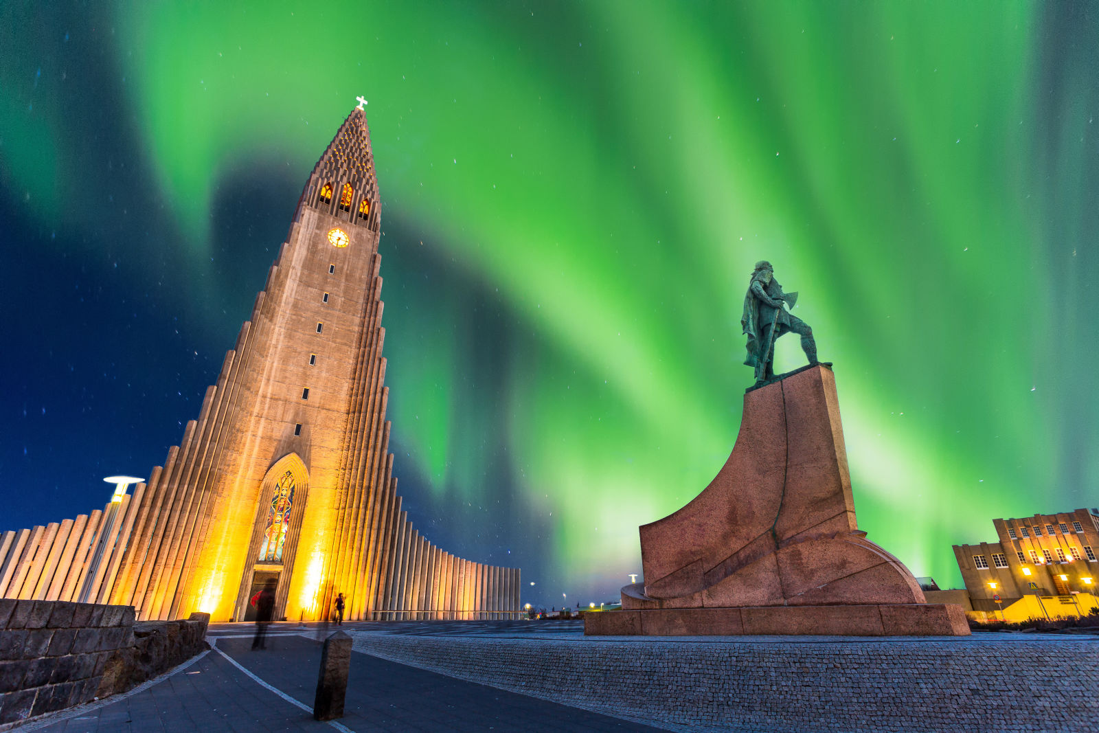 aurora borealis, Building, hallgrimskirkja church