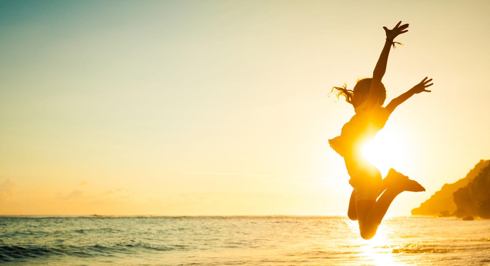 beach, jump, sun