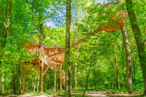 Cabane dans les arbres exceptionnelle en Bourgogne