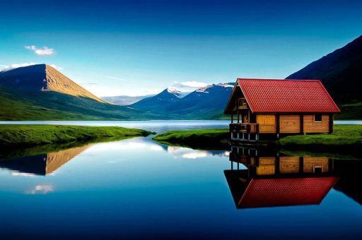 Aurores boréales en Islande dans des bungalows au bord de l'eau
