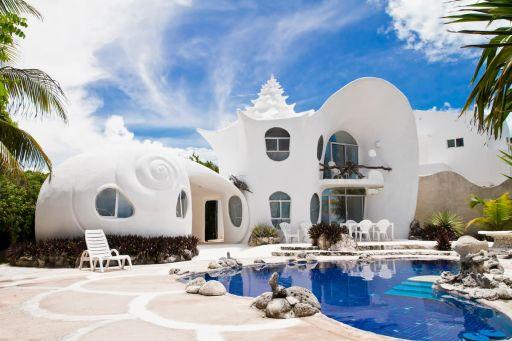 Dom w kształcie muszli na Karaibach