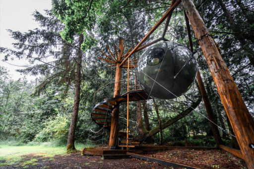 Spherical Treehouse in the Pacific Northwest