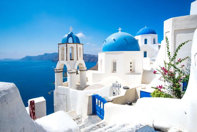Weiße Häuser auf Santorini