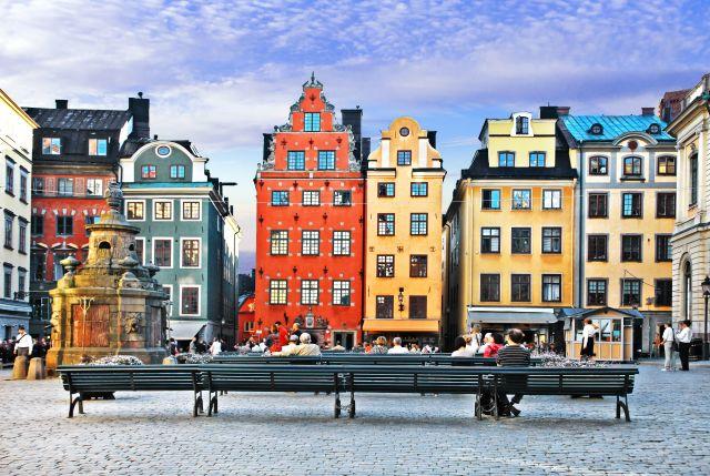 Kleurrijke huizen in het centrum van Stockholm in Zweden