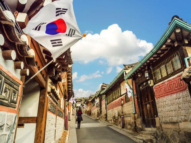 Seouls Südkorea Häuser Flagge