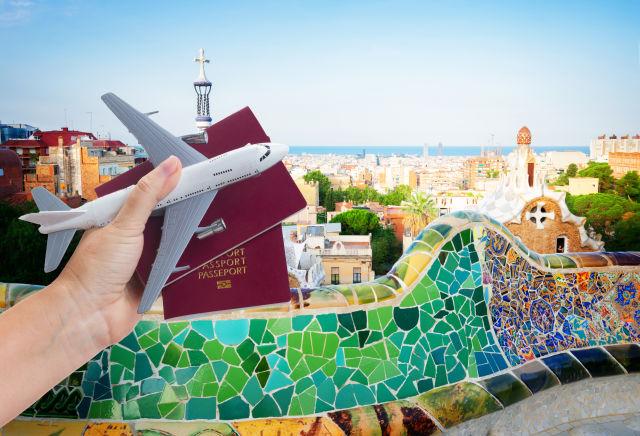 Flugzeug Reisepass Barcelona