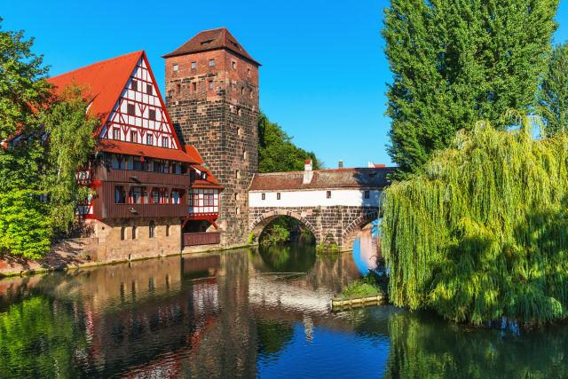 Schöne alte Gebäude in Nürnberger Altstadt