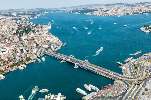 View from above on Galata Bridge Istanbul