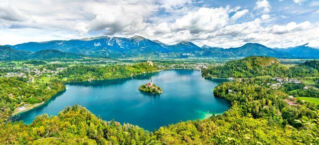 Der wunderschöne See Bled in Slowenien
