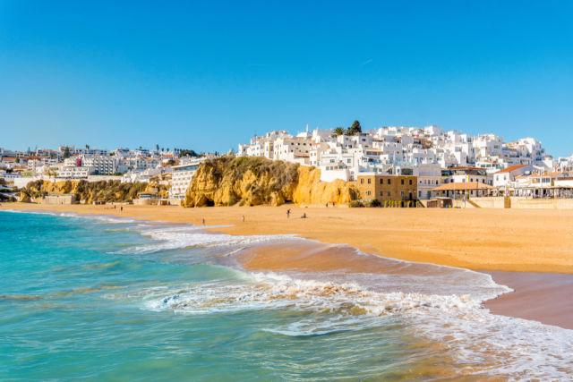 Algarve, beach, Portugal, Albufeira, white houses, ocean