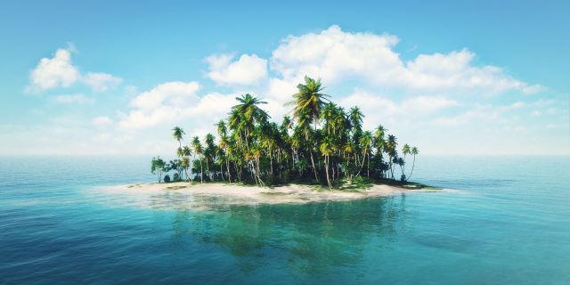 Einsame Inseln mit Palmen