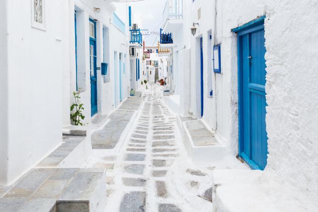 Mykonos, Greece, Street view, white houses, blue doors